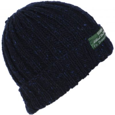 Navy Wool Beanie with red flecking