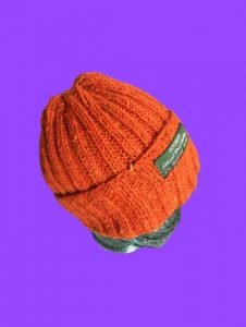 Safety Orange Bogman Beanie knitted wool hat