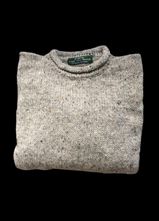 knitted roll neck sweater in grey granite pure wool