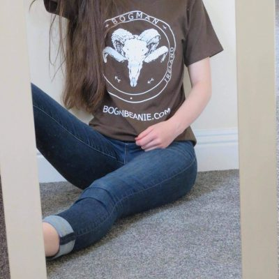 Girl wearing chocolate brown vintage colour bogman tshirt