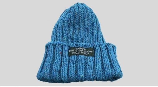 Blue Merino wool beanie hat