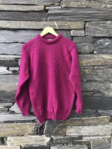 Raspberry merino wool sweater