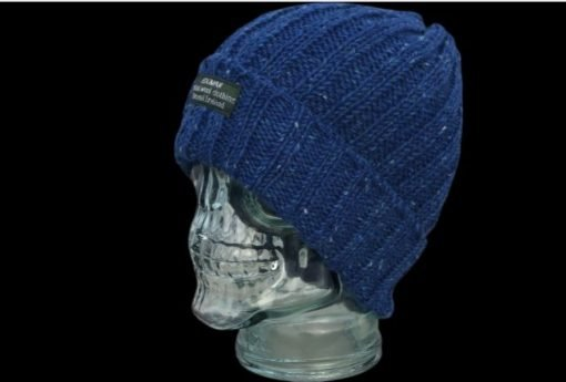 Bright blue Donegal Tweed Bogman beanie