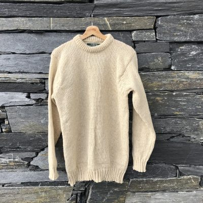 Merino wool sweater against drystone wall
