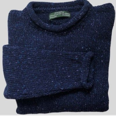 Tweed wool sweater- navy fleck